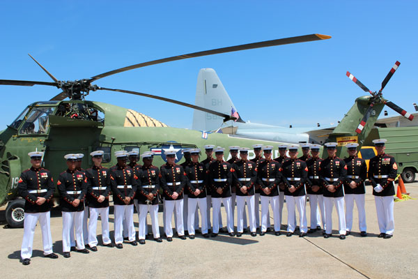 USMC Silent Drill Team in front of YN-19